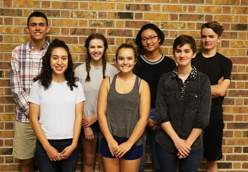 These students are being recognized by the National Merit Scholarship Program: (front row, from left) Rania Nasif, Gabby Larson, Hope Mahon (back row from left) Max Hofmeister, Alex Anderson, Jocelyn He, Thomas Felt.